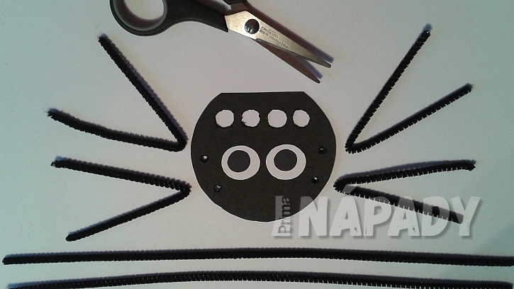 Pavouček: vystřihněte z černého papíru tělíčko