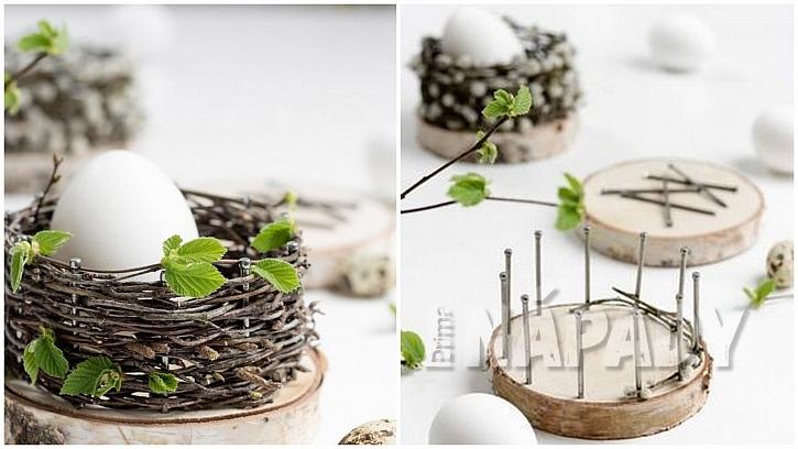 Hnízdečka na dřevěné podložce