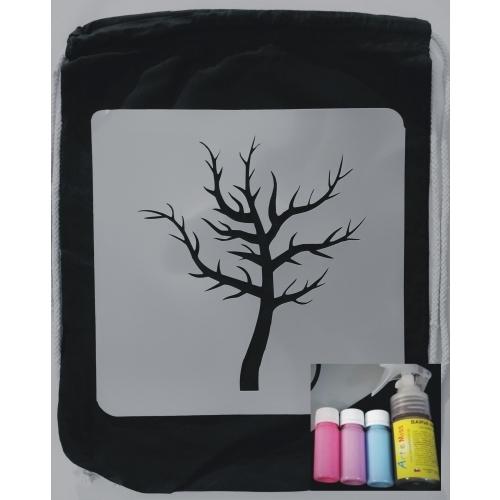 Sada na tvoření - Batůžek strom /neon růžová, fialová, modrá +sprej