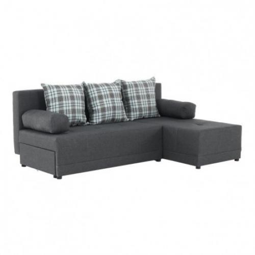 Rohová sedací souprava, šedý melír / vzor, pravá, MEXX, Tempo Kondela