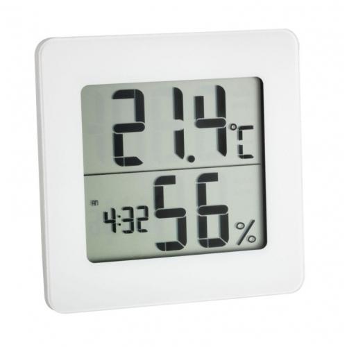 Digitální teploměr s vlhkoměrem, hodinami Airbi DIGIT, bílý