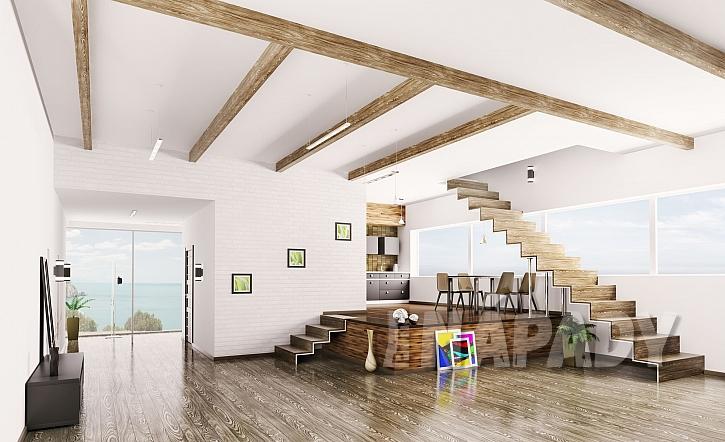 Obývací pokoj s jídelnou a stupínkem