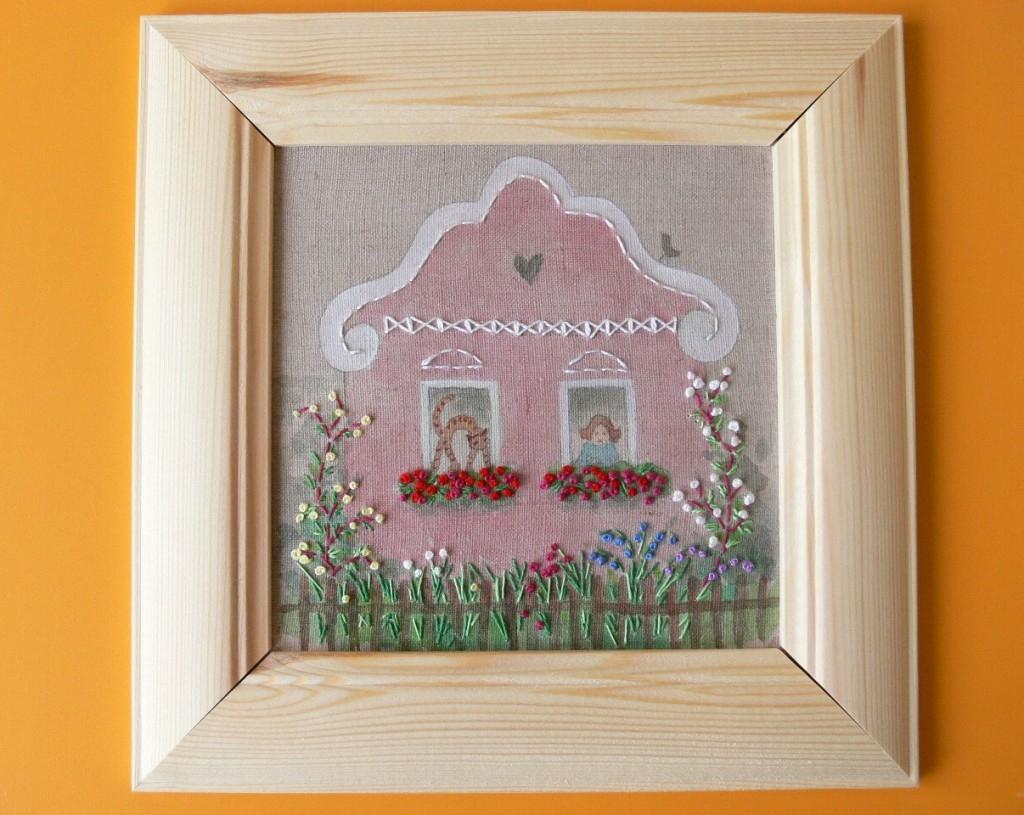 Akvarelový obrázek s vyšíváním