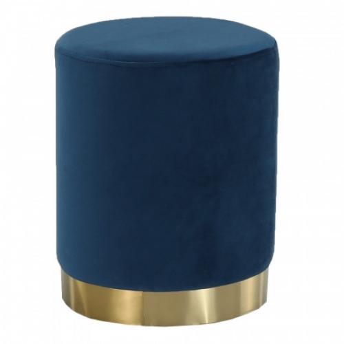 Taburet, modrá Velvet látka/gold chrom-zlatá, ALAZ