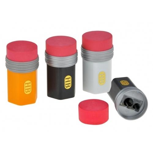 MFP ořezávátko s pryží na 2 tužky, zásobník mix barev