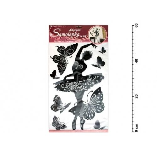Anděl samolepící dekorace 10017 baletka černá s glitry a kamínky 60x32cm