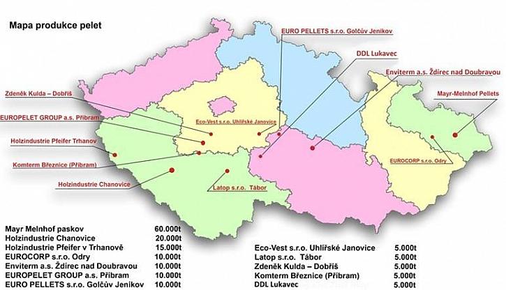 Mapa českých peletáren
