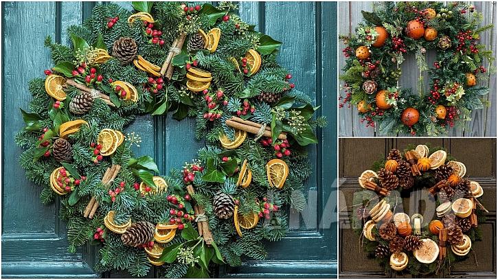 Vánoce svůní pomerančů: věnce na dveře