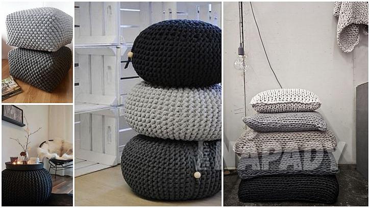 Upletené Vánoce: polštáře a pufy pro pohodáře