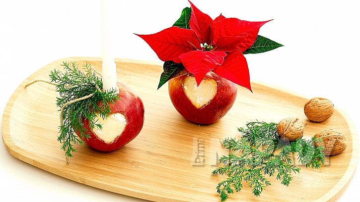 Vánoční svícen a váza z jablek dotvořte a dozdobte podle sebe