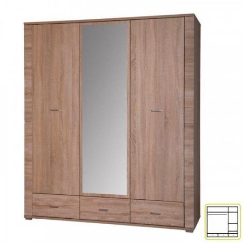 Skříň se zrcadlem typ 2, dub sonoma, GRAND, Tempo Kondela