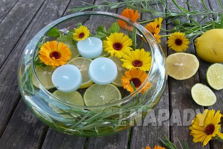 Dekorační miska s citrusy: zapalte svíčky