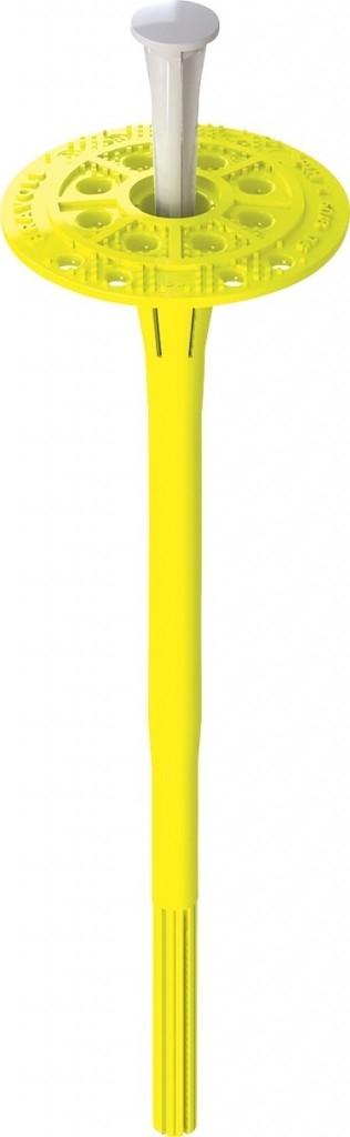 Talířová hmoždinka s platovým trnem sloužící k ukotvení izolačních desek