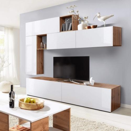 Obývací stěna, bílá s extra vysokým leskem/dub Wotan, MIRALDA, Tempo Kondela