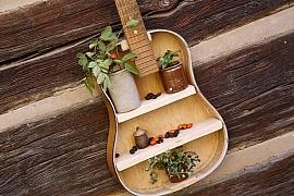 Starou kytaru nevyhazujte, vyrobte si z ní dekorační poličku