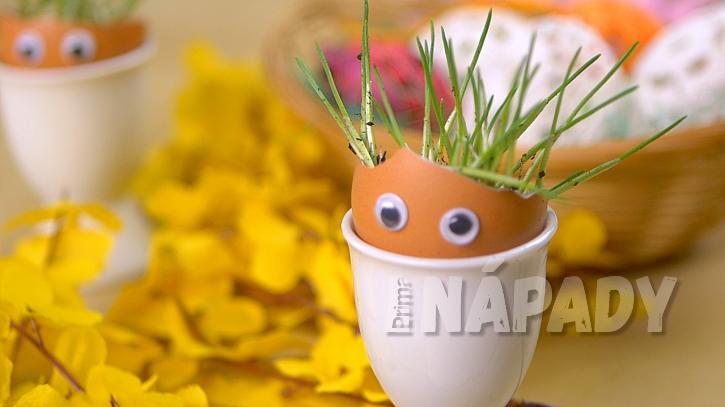 Velikonoční osení: skořápky ozdobte nalepovacími očky