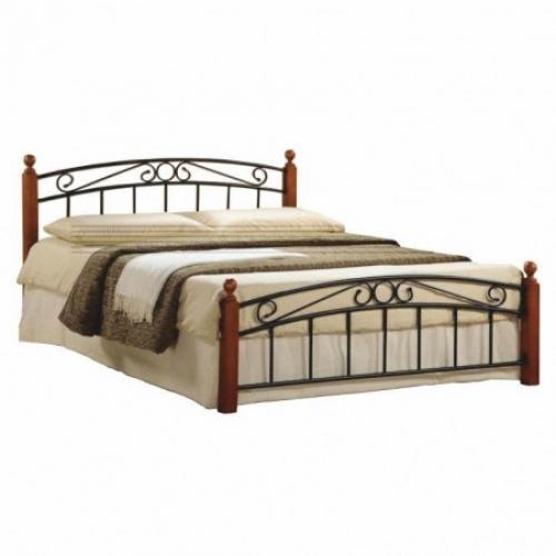 Tempo Kondela Manželská postel, třešeň/černý kov, 160x200, DOLORES