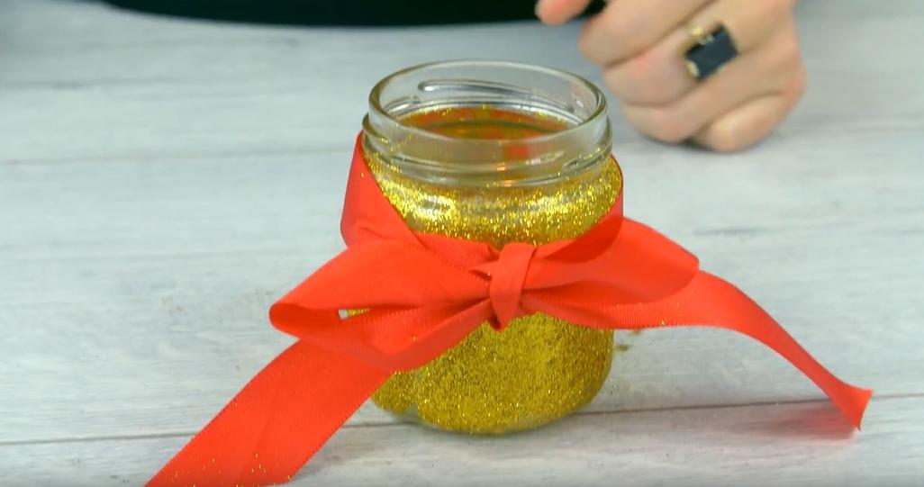 Vánoční svícen s mašlí: Zlaté Vánoce