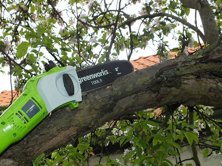 Greenworks není jen plotostřih, ale i pila!