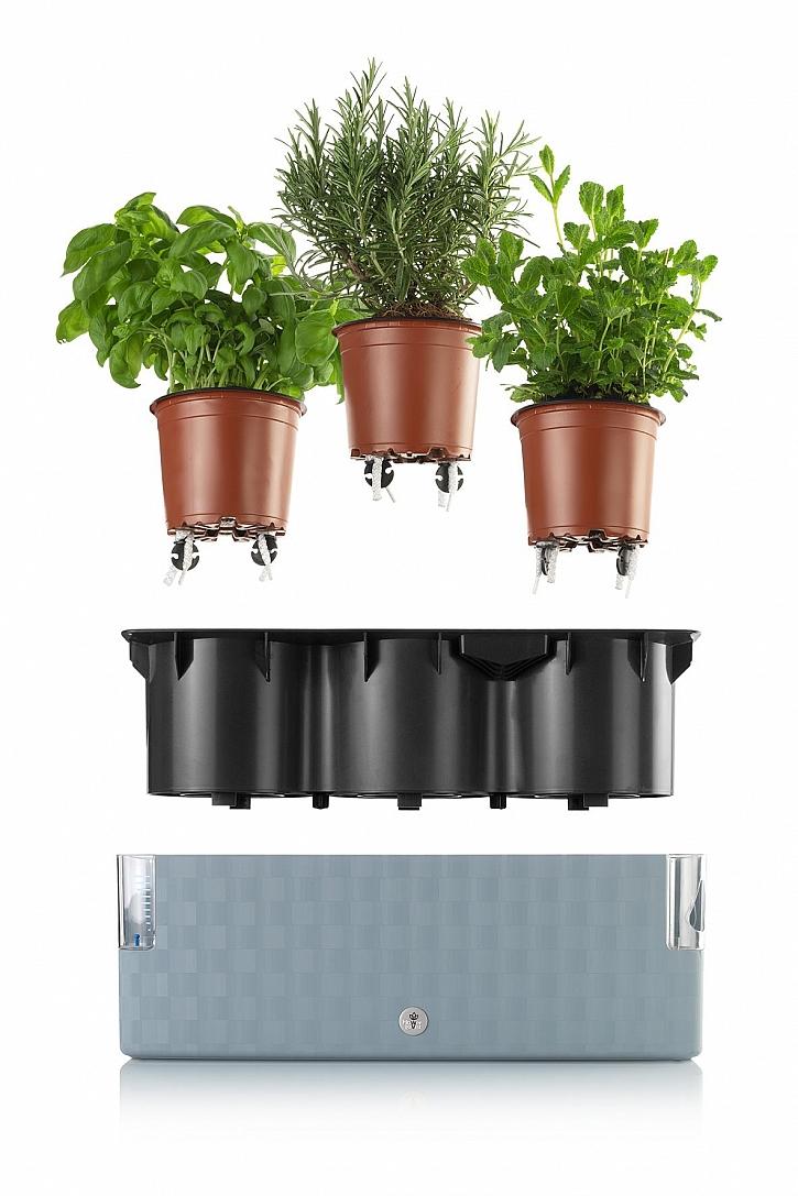 samozavlažovací truhlík Cobble Trio steel blue