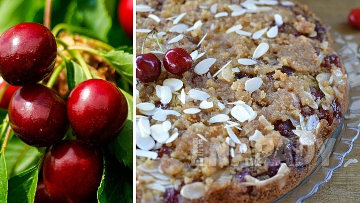 Recepty s třešněmi: obrácený třešňový koláč