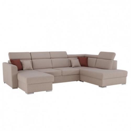 Luxusní sedací souprava, béžová / cihlová, pravá, MARIETA U, Tempo Kondela