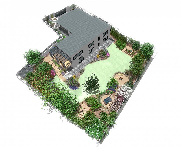 Návrh vizualizace zahrady s domem a pergolou