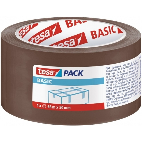 TESA Balicí páska BASIC, základní, hnědá, 66m x 50mm