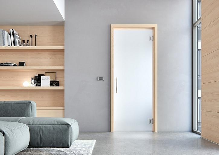 Dveře Sapglass, sklo Satináto bílé, kyvné, zárubeň Obtus. Cena skla za rozměr 80 x 197 cm 4372 Kč vč. DPH