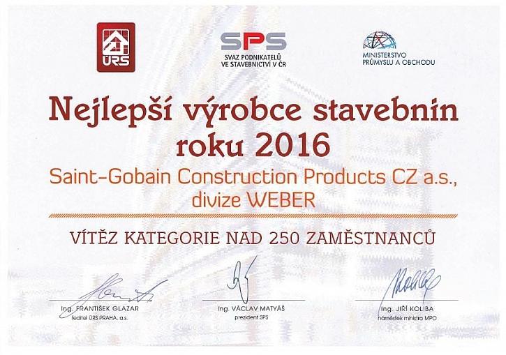Weber je NEJLEPŠÍ výrobce stavebnin 2016