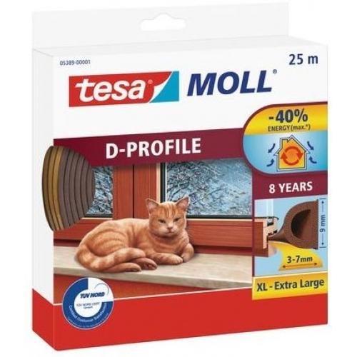 TESA MOLL Gumové těsnění, hnědé, na okna a dveře, D profil, 25m 05389-00001-00