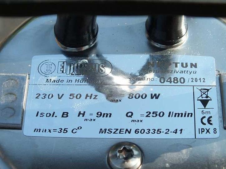 Údaje na čerpadle Neptun
