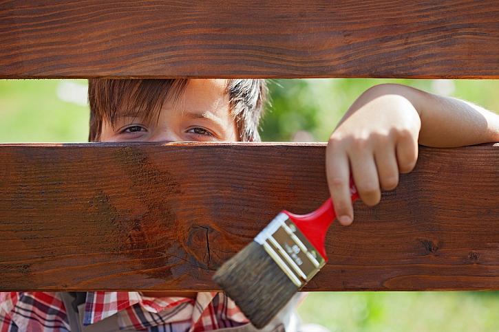 Chlapec kouká skrz dřevěný plot