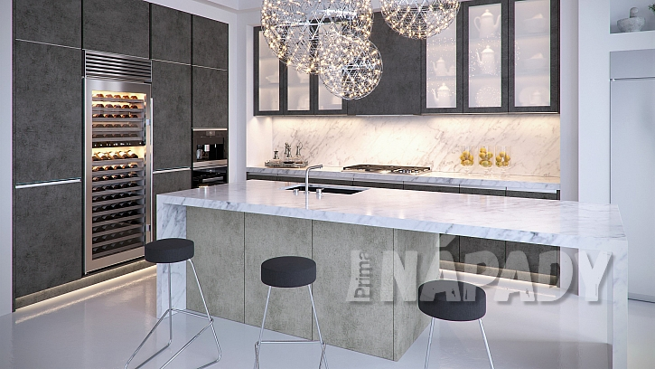 Beton na nábytkových dvířkách: dvířka T.classic v kombinaci dekorů světlý a tmavý beton