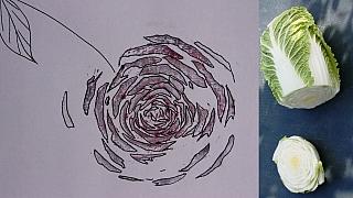 Tiskátka ze zeleniny: Pekingské zelí jako výtvarný nástroj