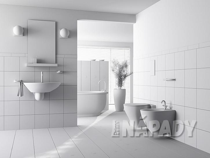 Minimalistická bílá koupelna a zrcadlo s poličkou