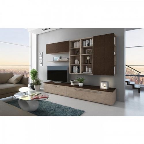 Obývací stěna, olše Panama/Buffalo hnědá, GIJON, Tempo Kondela