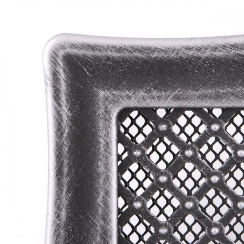 Krbová mřížka 16x16cm s žaluzií DECO stříbrná patina