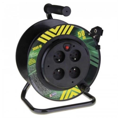Emos prodlužovací buben - 4 zásuvky, 50m, 1.5mm, pevný střed