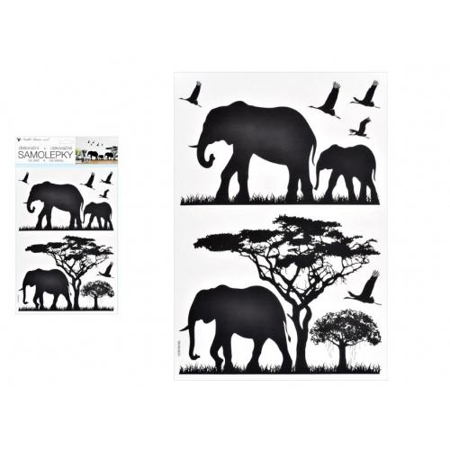 Anděl samolepící dekorace 10475 černá sloni 24 x 42 cm