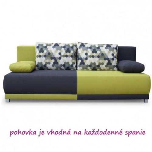 Pohovka rozkládací, šedá / zelená / vzor polštáře, SPIKER, Tempo Kondela