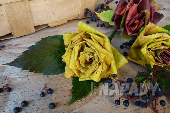 Růže z barevného podzimního listí