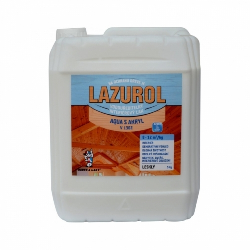 Lazurol Aqua S Akryl V1302 lesk lak na dřevo 5 kg