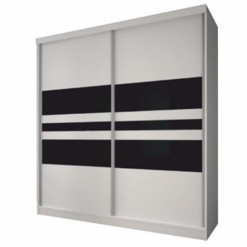 Skříň s posuvnými dveřmi, bílá / černé sklo, 183x218, MULTI 11, Tempo Kondela