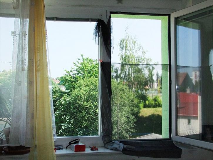 Síť sníží prosvit nepatrně. Vlevo v okně je klasická síť, vpravo je ta s UV ochranou.