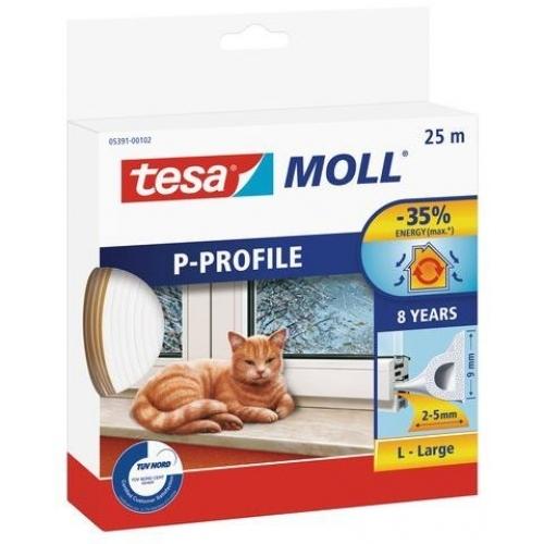 TESA MOLL Gumové těsnění, bílé, na okna a dveře, P profil, 25m 05391-00102-00