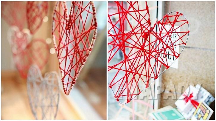 Valentýnské drobnosti: drátěná srdíčka