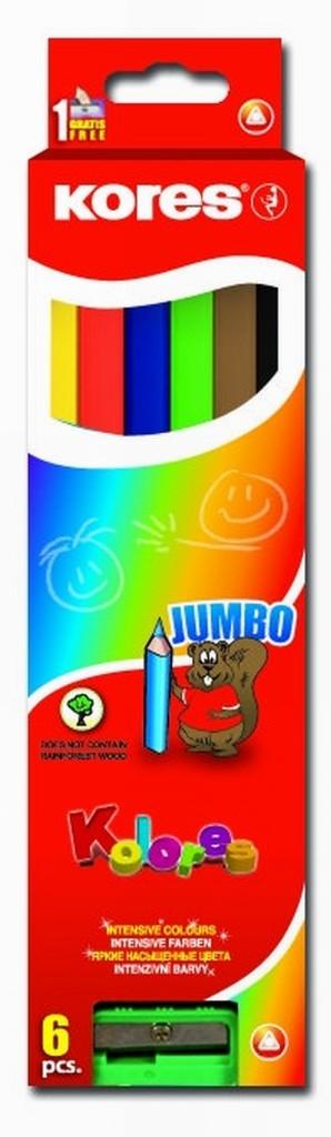 Jumbo trojhranné pastelky s ořezávátkem