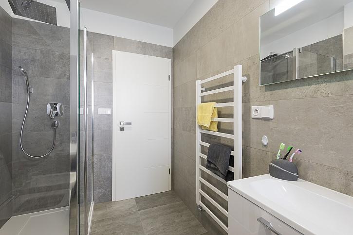 Koupelna se sprchovým koutem a dveřmi