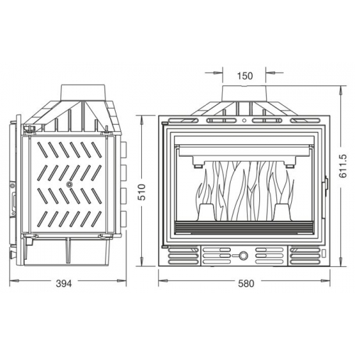 Krbová vložka UNIFLAM 600 ECO s klapkou a externím přívodem vzduchu 907-595-DP